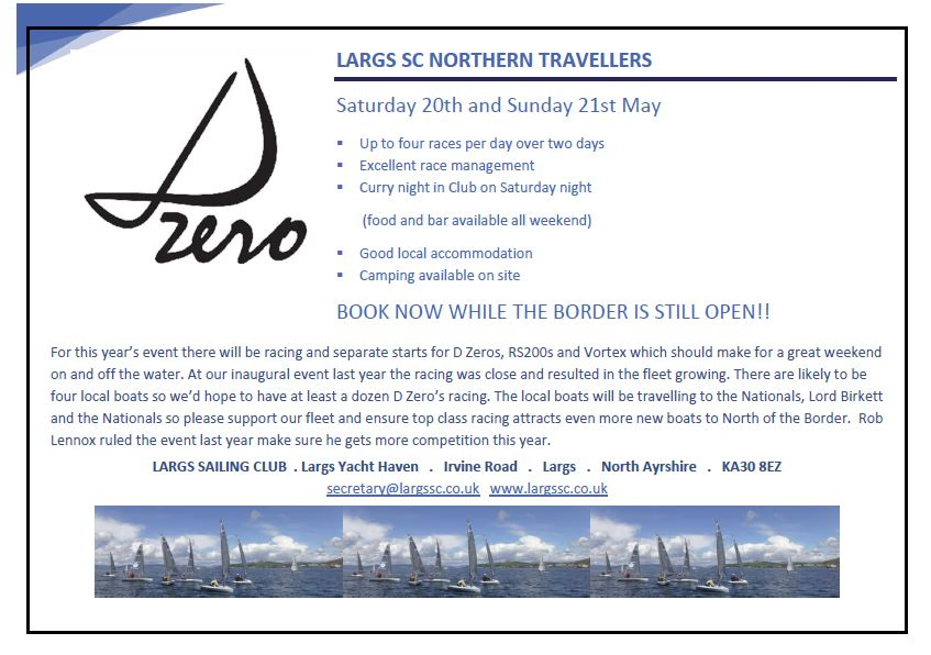 D Zero Northern Traveler – Largs Sailing Club – Saturday 20th and Sunday 21st May 2017